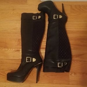 Black Faux leather boots with quilted details
